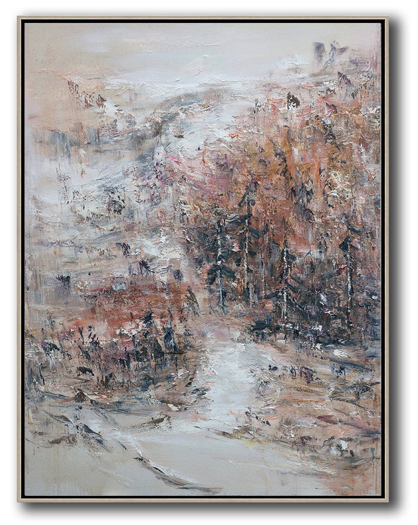 Extra Large Abstract Painting On Canvas,Original Abstract Landscape Oil Painting On Canvas, Vertical Canvas Art,Hand Painted Original Art,White,Orange,Blue,Lake Blue.etc